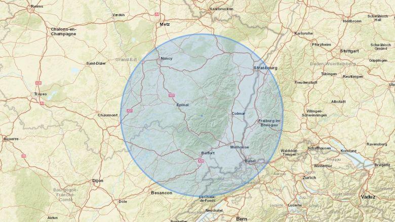 La carte des 100km, à partir de Gérardmer (Vosges). / © Capture calcmaps