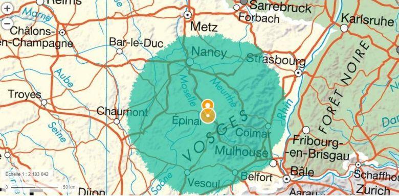 Le cercle magique des 100 km autour d'Epinal / © Géoportail. gouv