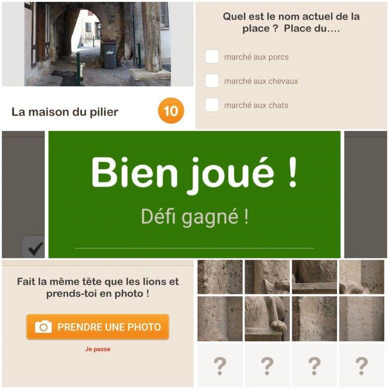 """Captures d'écran du circuit """"A la recherche du chat de la mère Michel"""" édité par l'office du tourisme de Sens sur l'application GuidiGo / © Office du tourisme de Sens / GuidiGo"""