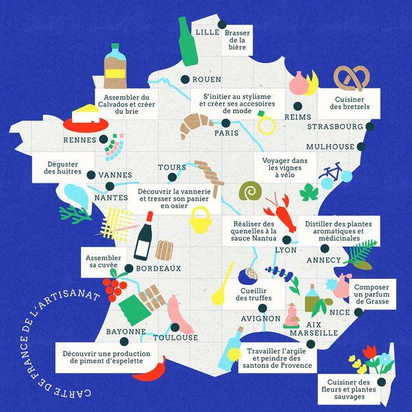 La carte des implantations des artisans en France